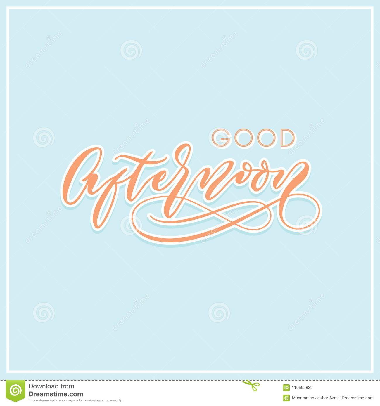 Good Afternoon Modern Calligraphy Hand Lettering Typography Greeting