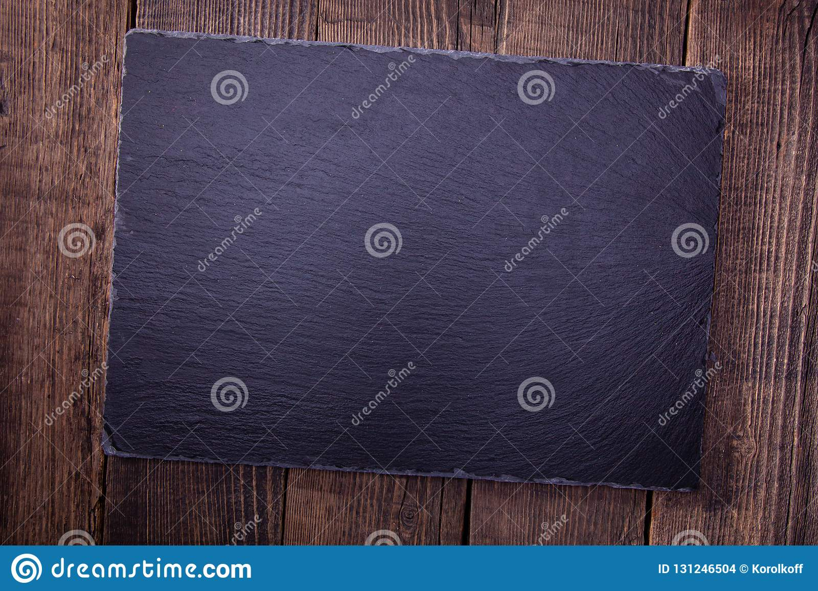 Wooden Top Of Old Wood And Slate Tile  Stock Photo - Image
