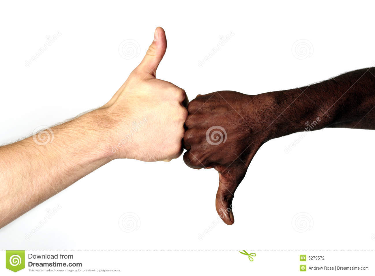 Black and White males with thumbs up and down.: www.dreamstime.com/stock-photography-good-bad-image5279572