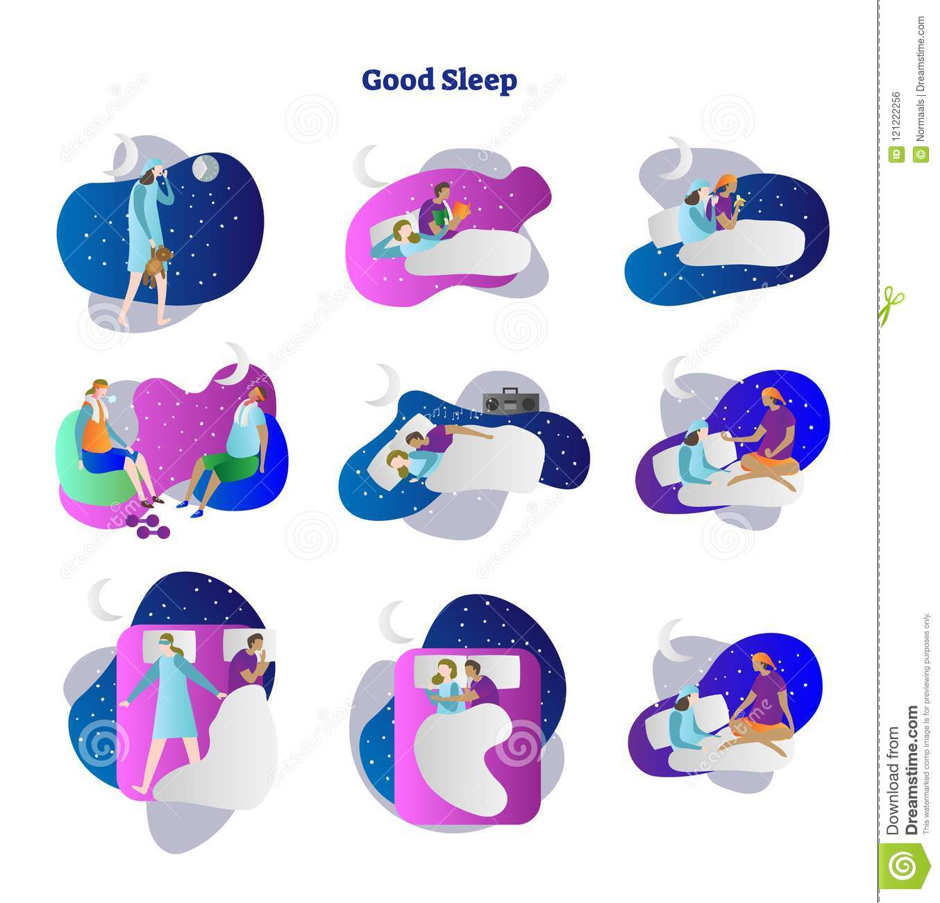 Good Or Bad Sleep Vector Illustration Collection Set