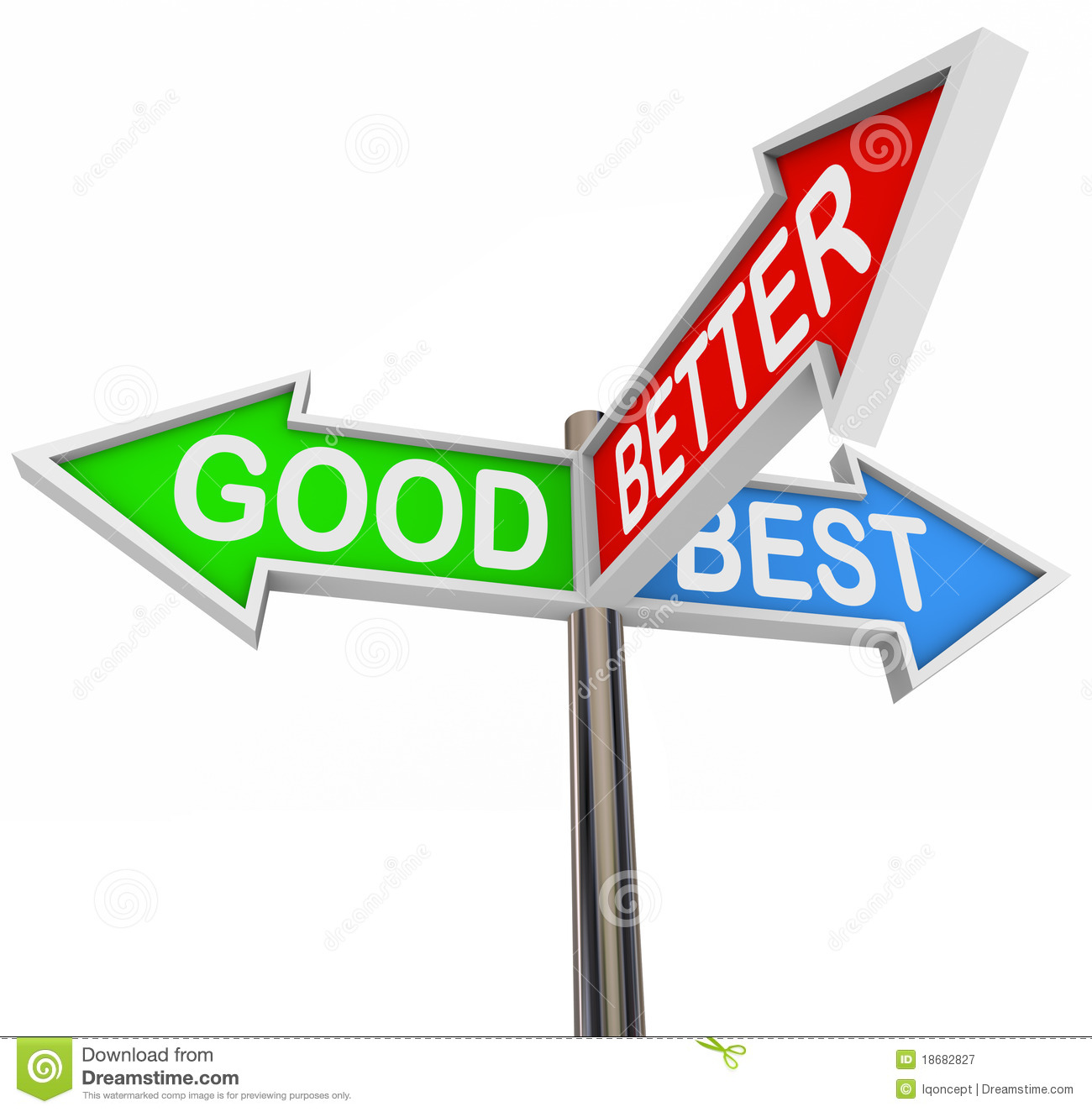 Http Www Dreamstime Com Royalty Free Stock Photography Good Better Best Choices 3 Colorful Arrow Signs Image18682827