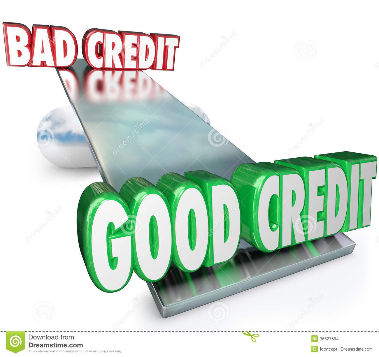 Loan For Bad Credit >> Good Credit Vs Bad See Saw Balance Scale Improve Rating Stock Images - Image: 36627564