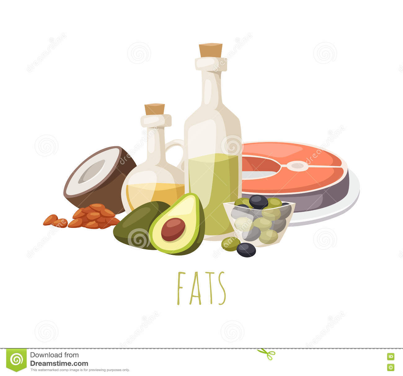 Good Fats Food Vector Illustration. Stock Vector ...