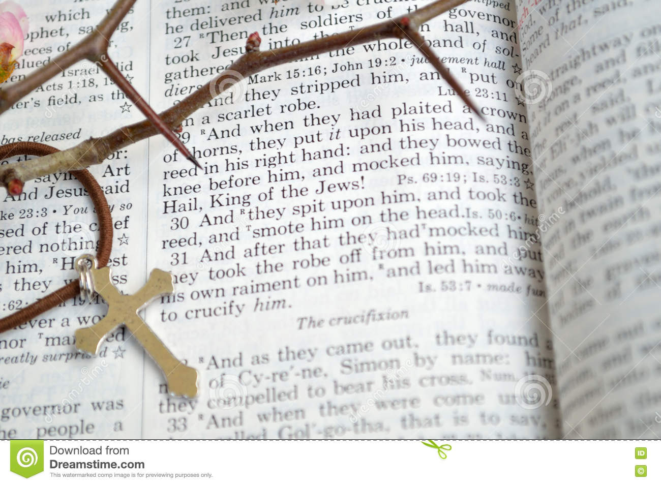 Good Friday Bible With Thorns And Cross Stock Photo - Image