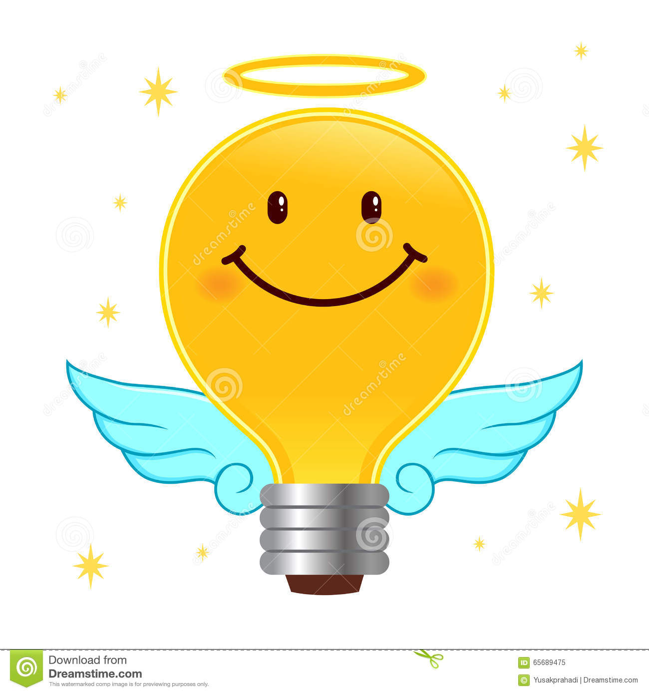 Good Idea Angel Light Bulb With Wings And Halo Stock