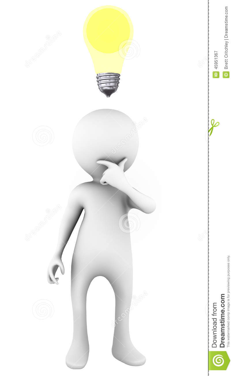 Good idea light bulb over the head of a thinking white figure.