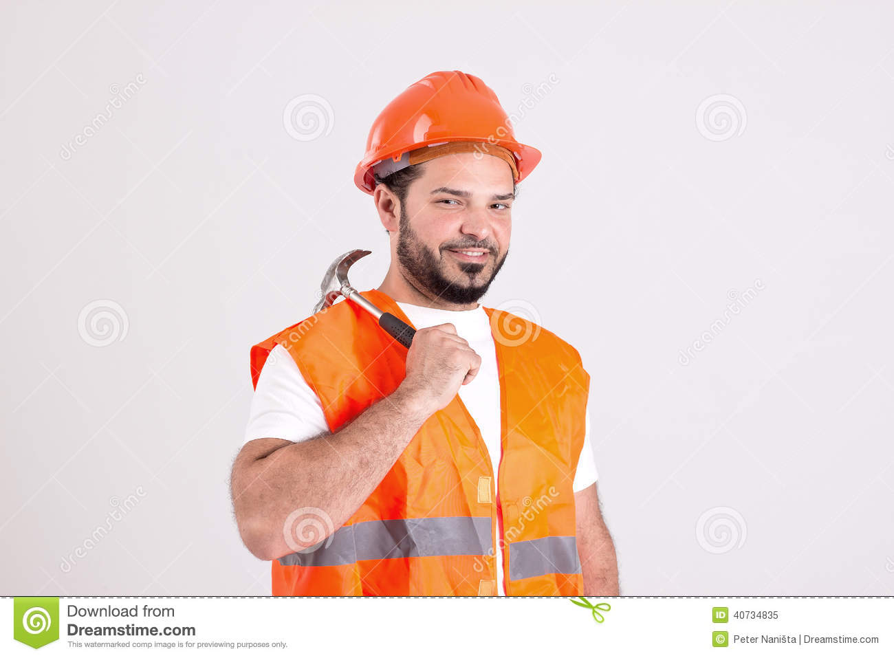 good looking construction worker bricklayer hammer stock good looking construction worker bricklayer hammer