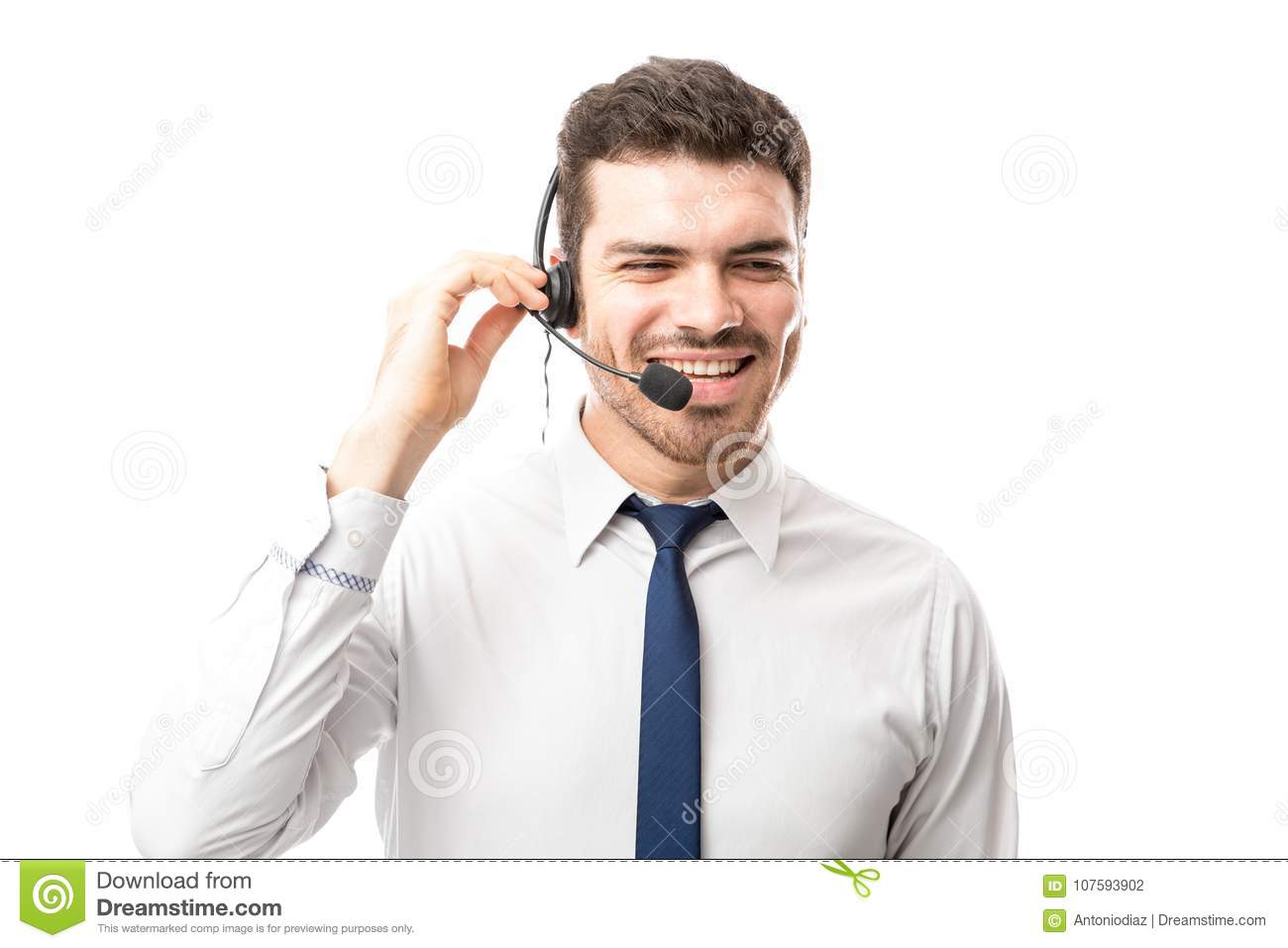 Sales Rep Smiling Over A Phone Call Stock Photo Image of executive