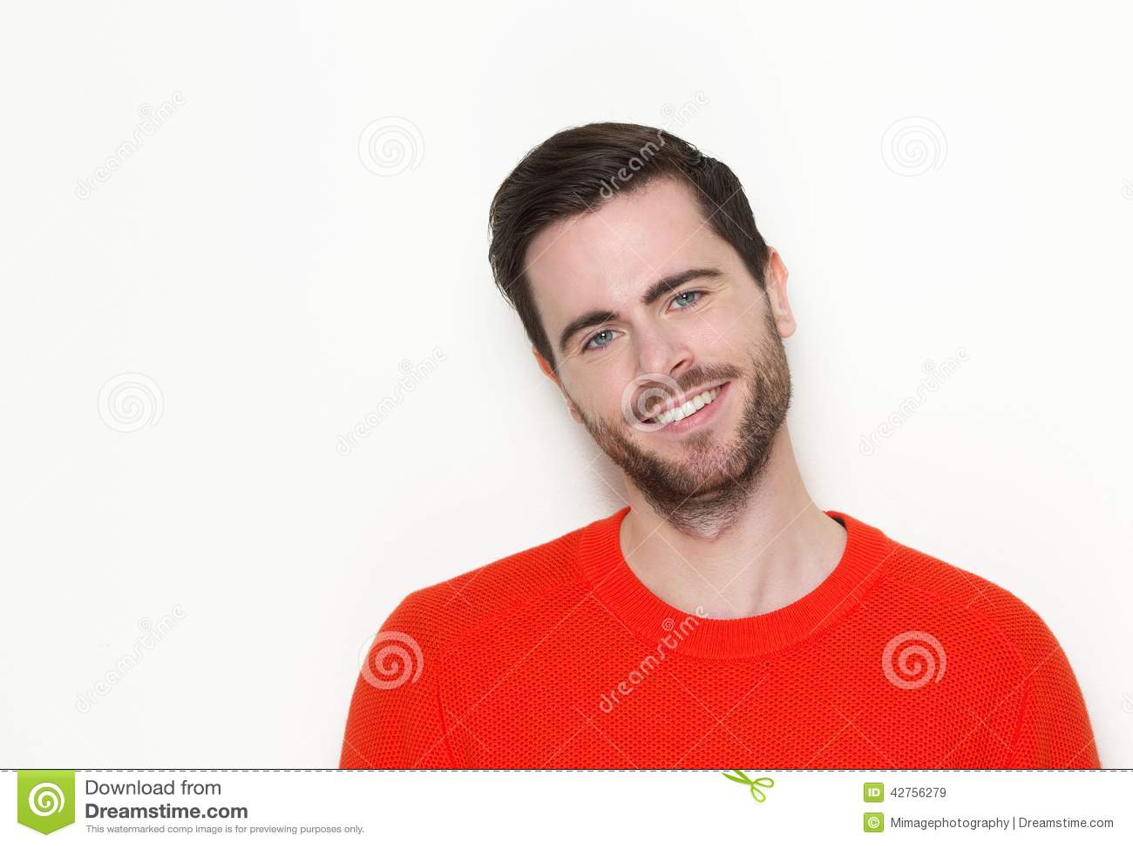 Pleasant Good Looking Young Man With Beard Smiling Stock Photo Image Short Hairstyles Gunalazisus