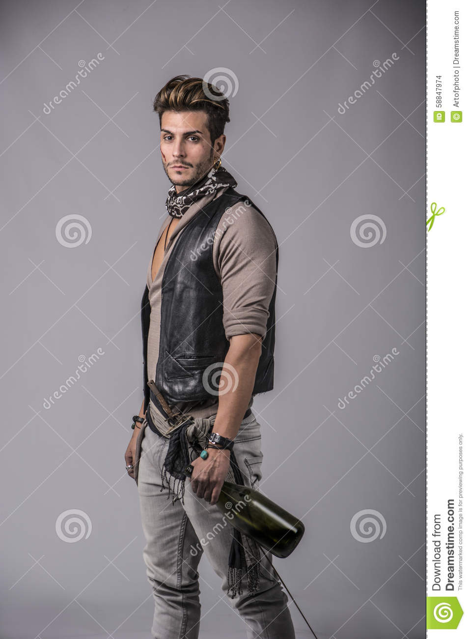Good Looking Young Man In Pirate Fashion Outfi Stock Photo