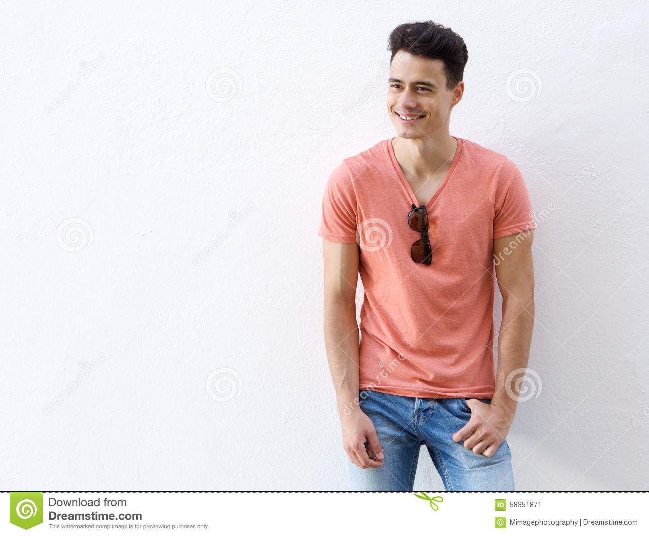 Good Looking Young Man Smiling Stock Photo - Image: 58351871  Good Looking Young Man