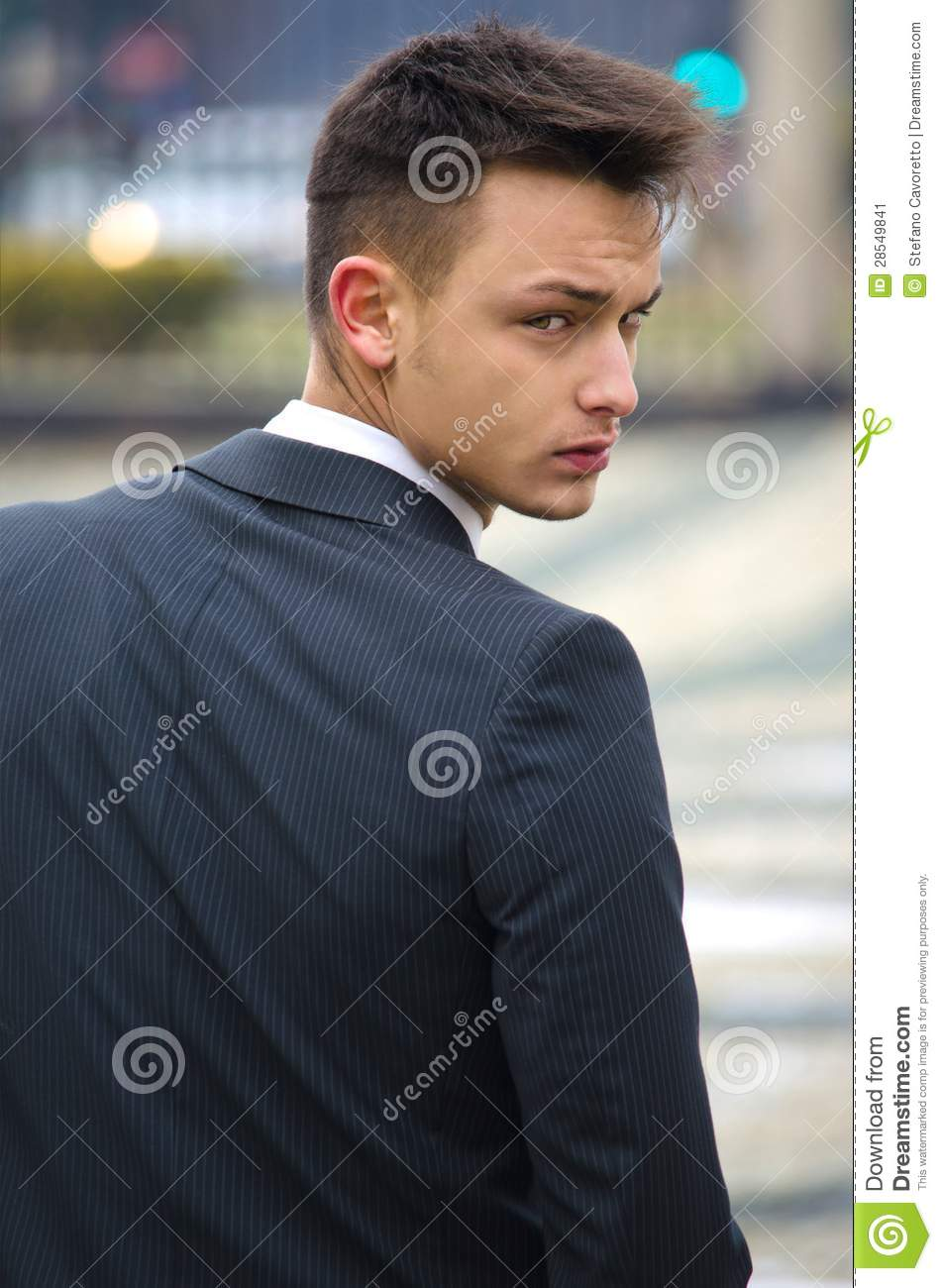 Good Looking Young Man In Suit, Back View Stock Image ...  Good Looking Young Man
