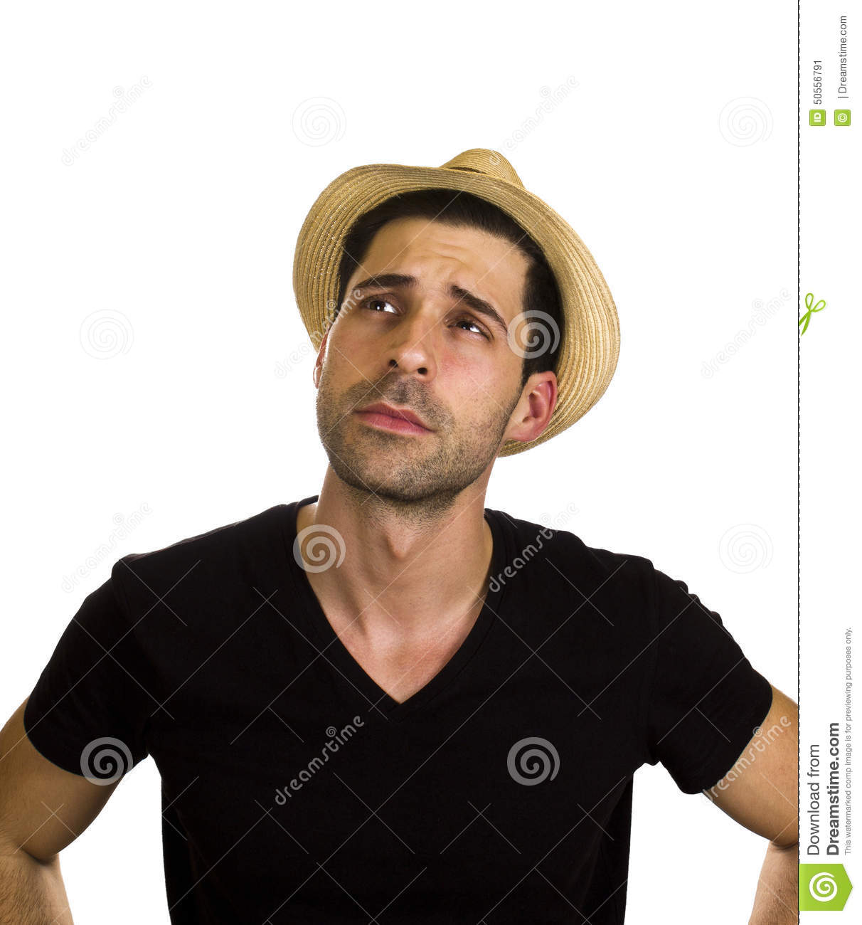 Good Looking Young Man Is Wearing Hat Stock Photo - Image ...  Good Looking Young Man
