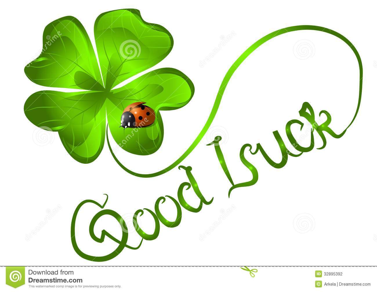 Good luck. background with clover and ladybug.