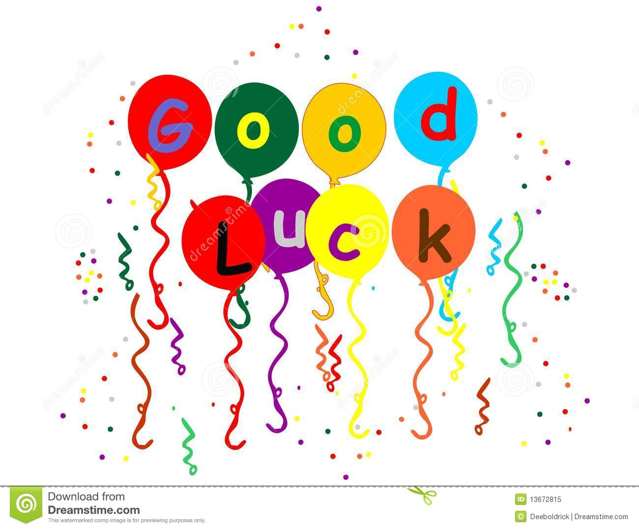 Good Luck Balloons , Streamers And Confetti Royalty Free ...