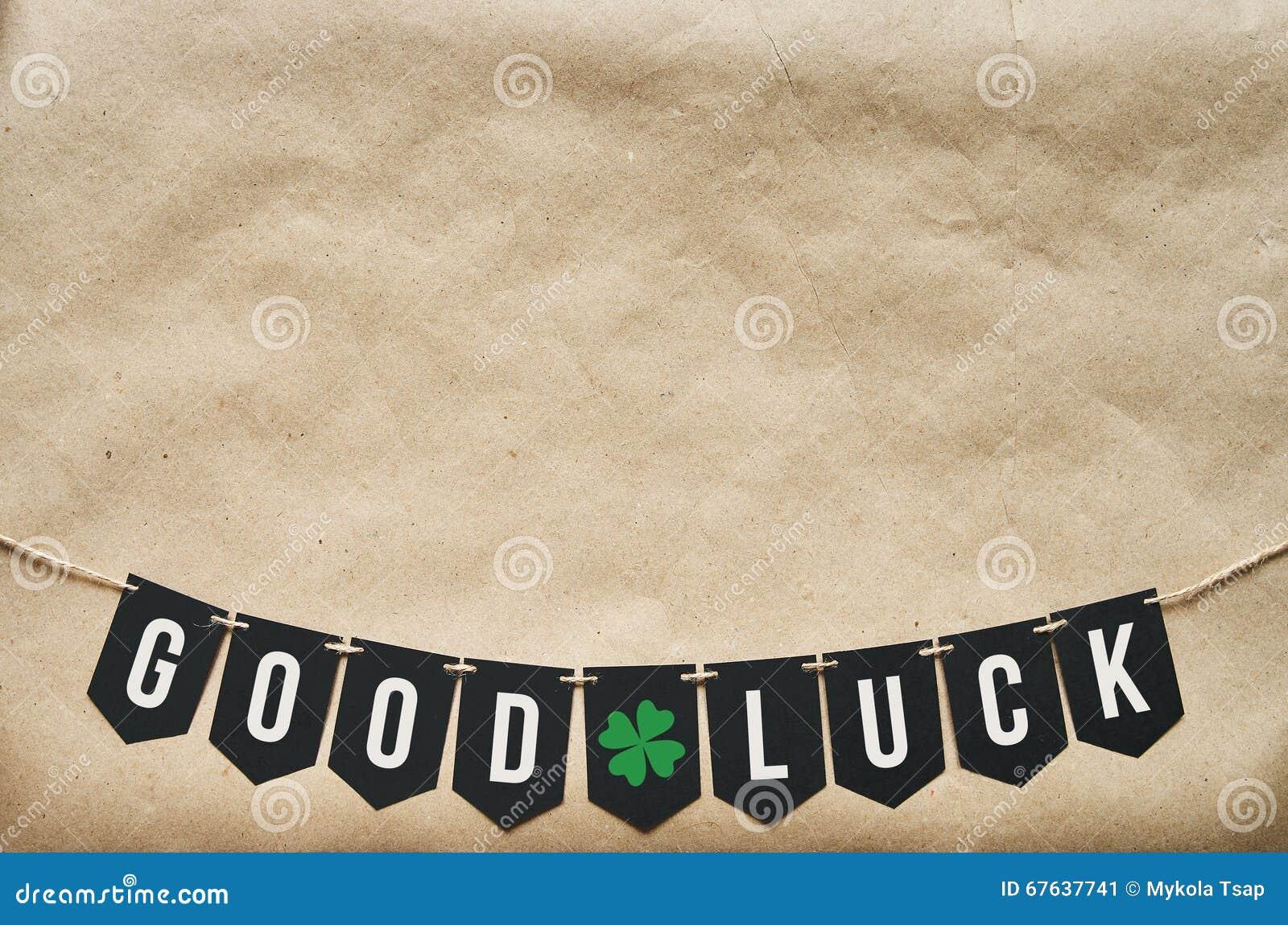 GOOD LUCK Banner Lettering Stock Photo - Image: 67637741