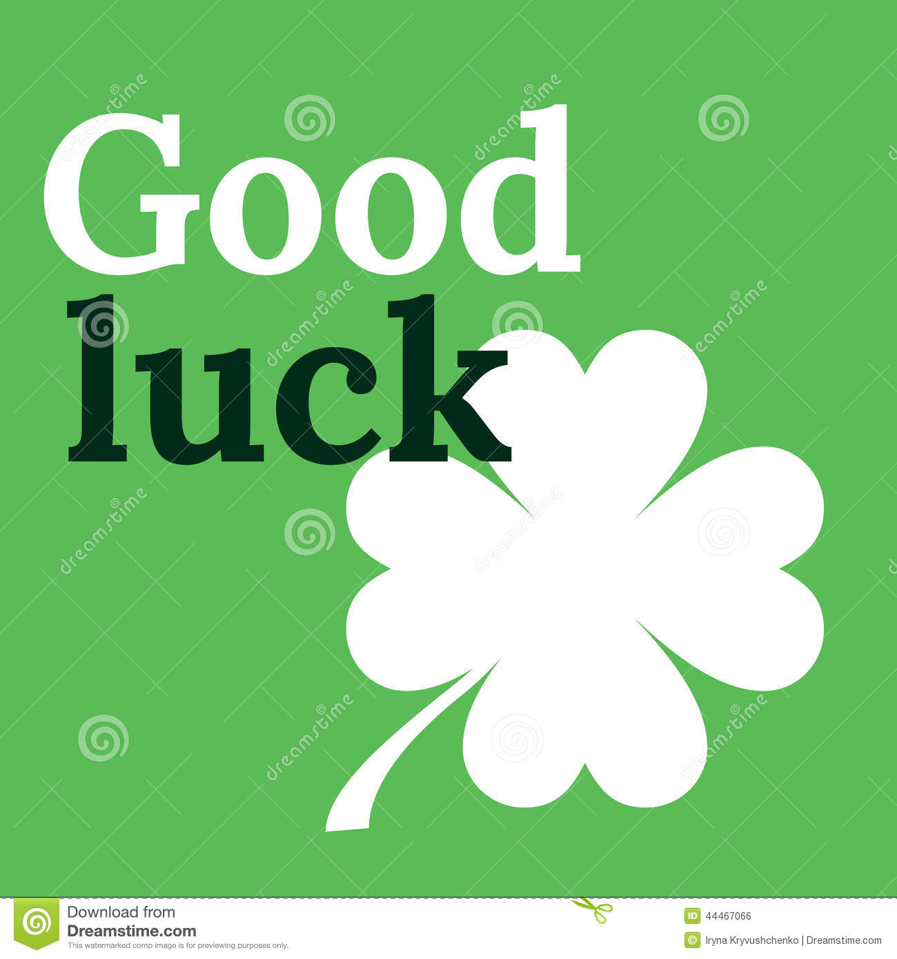 Good Luck Card With Clover Lucky Symbol Four Leaf Clover Stock