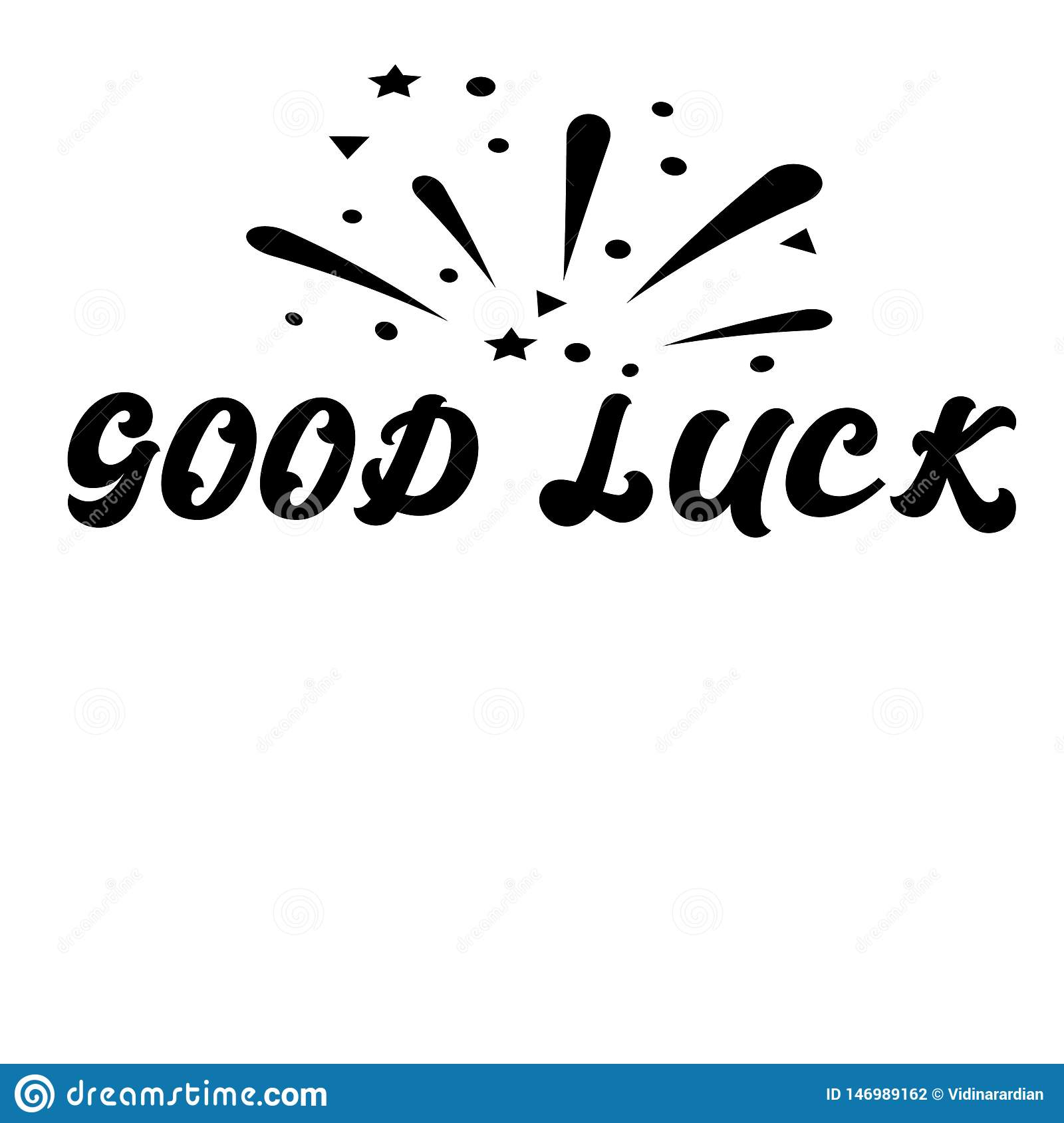 Good Luck Inspirational Quote With Magic Stars And Rays ...