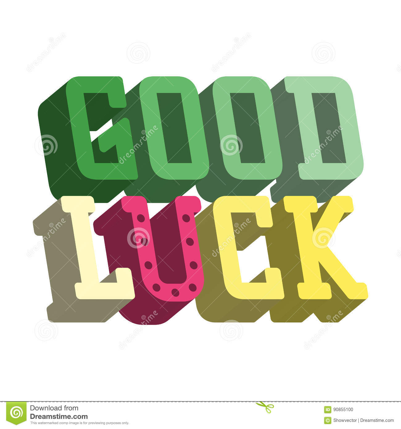 Good luck isometric text farewell vector lettering with lucky good luck isometric text farewell vector lettering with lucky phrase background greeting typography card best kristyandbryce Images