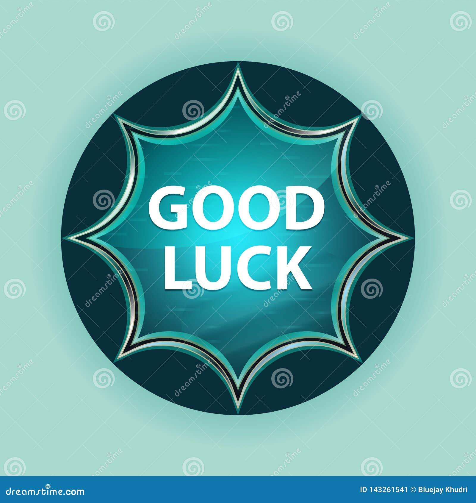 Good Luck magical glassy sunburst blue button sky blue background