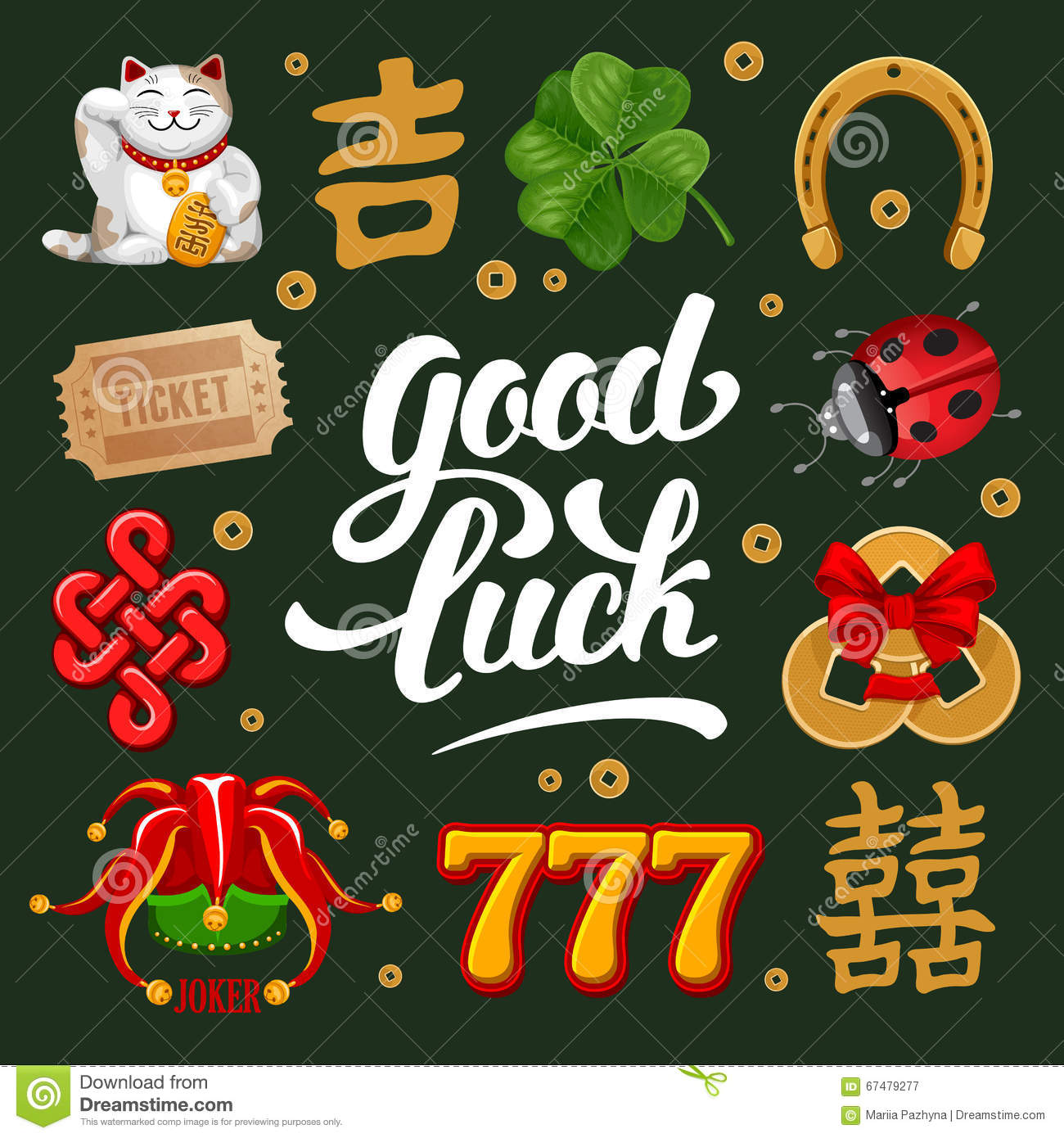 Chinese good luck symbols stock illustrations 139 chinese good good luck set of lucky charms symbols and talismans calligraphy lettering inscription good buycottarizona Image collections
