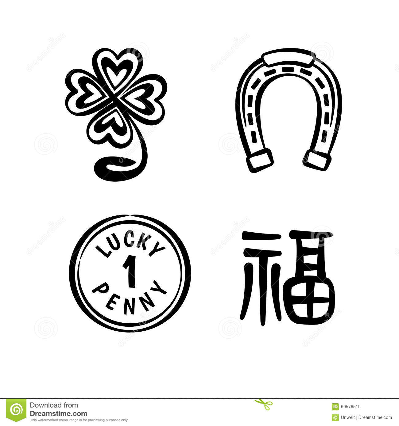 ... horseshoe, lucky penny and chinese characters Fu meaning Good Luck