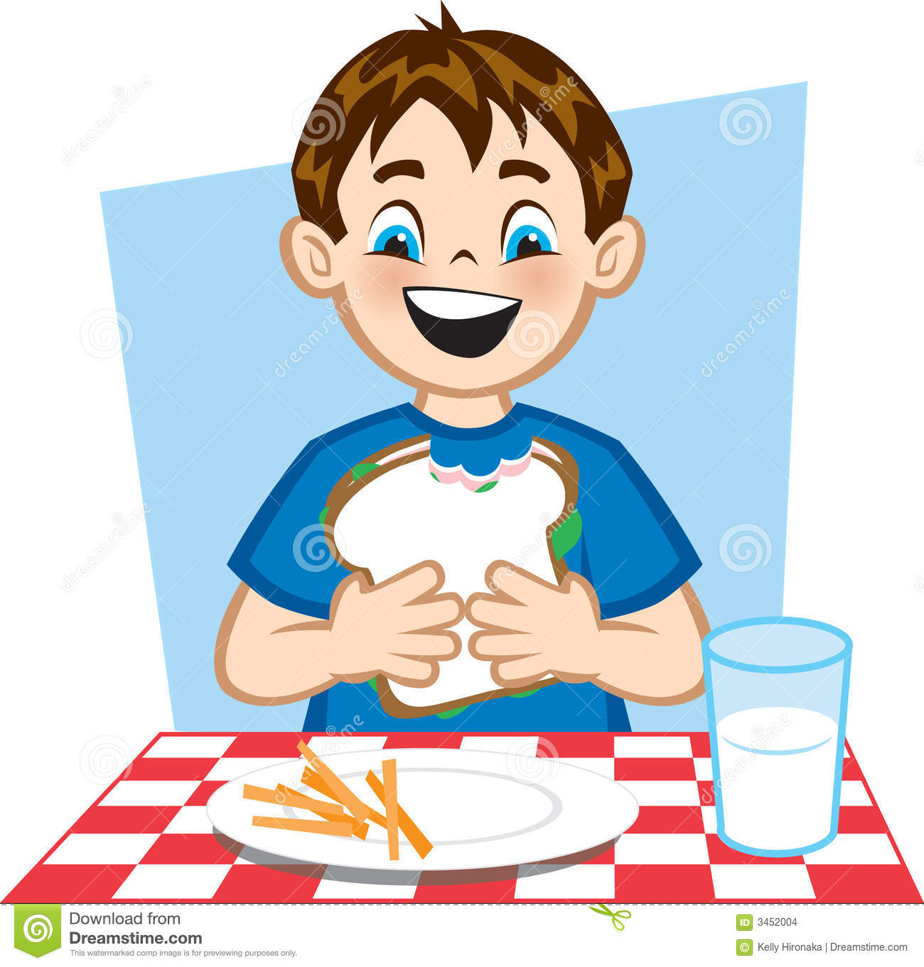 Illustration of a young boy eating a healthy lunch.