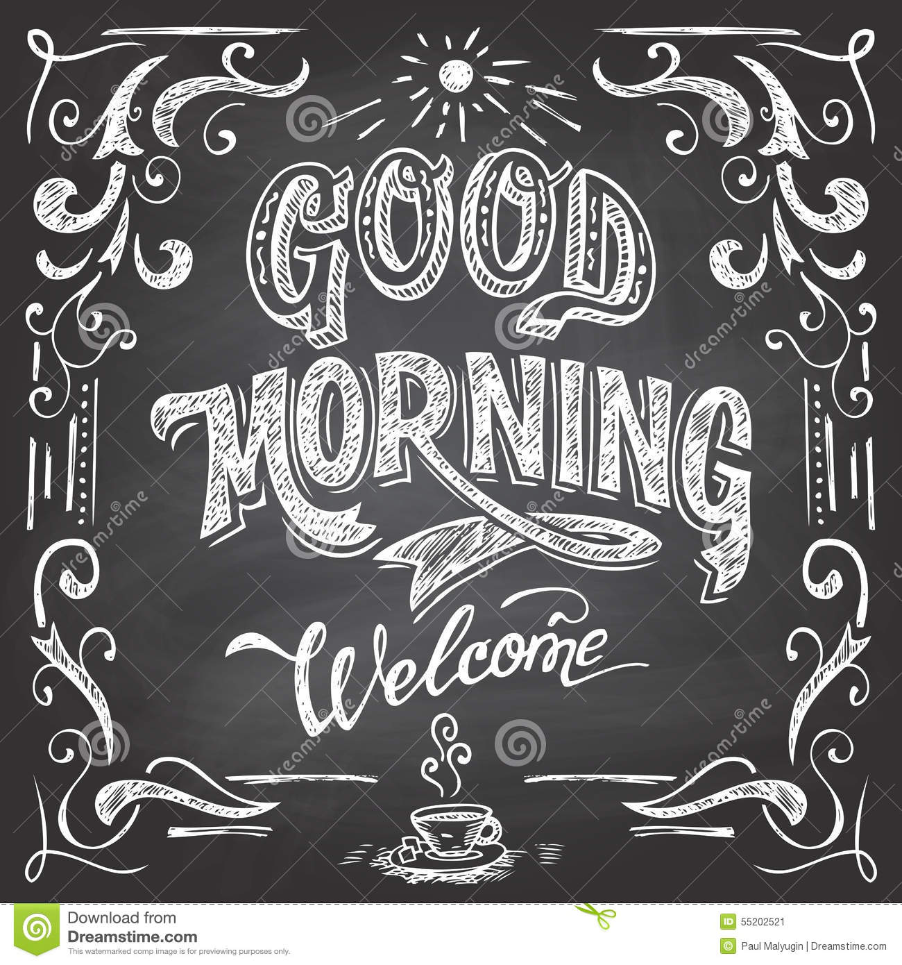 good morning cafe chalkboard stock vector   image 55202521