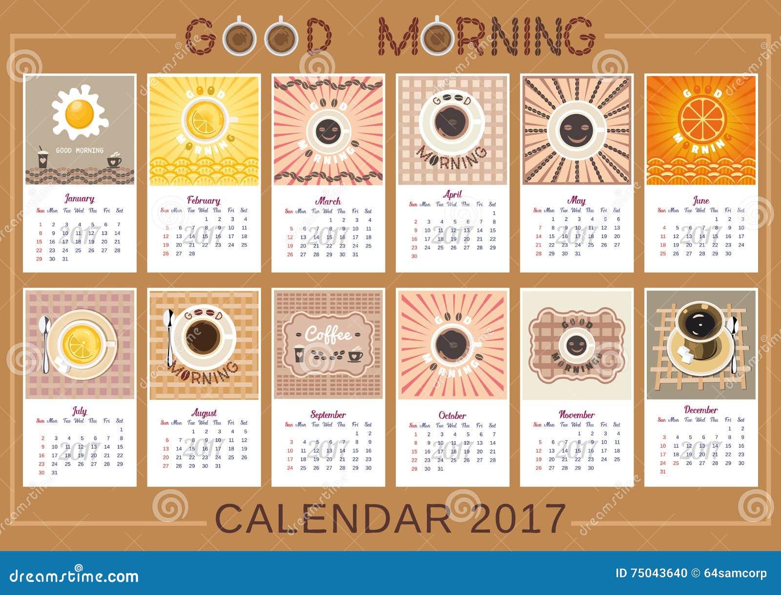 Good Calendar Design : Good morning calendar stock vector image