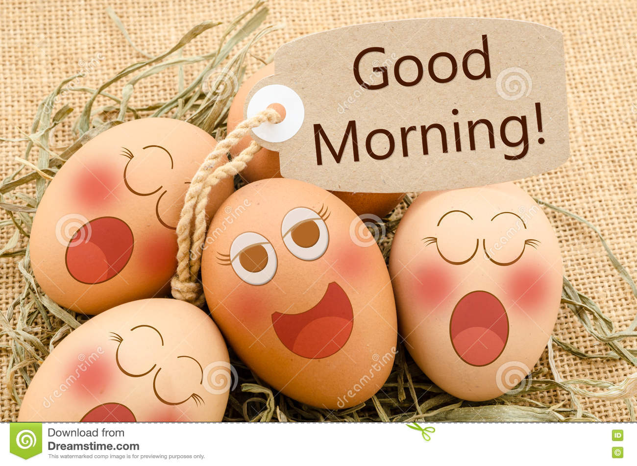 Good Morning Card And Smile Face Eggs Sleep Stock Photo Image Of