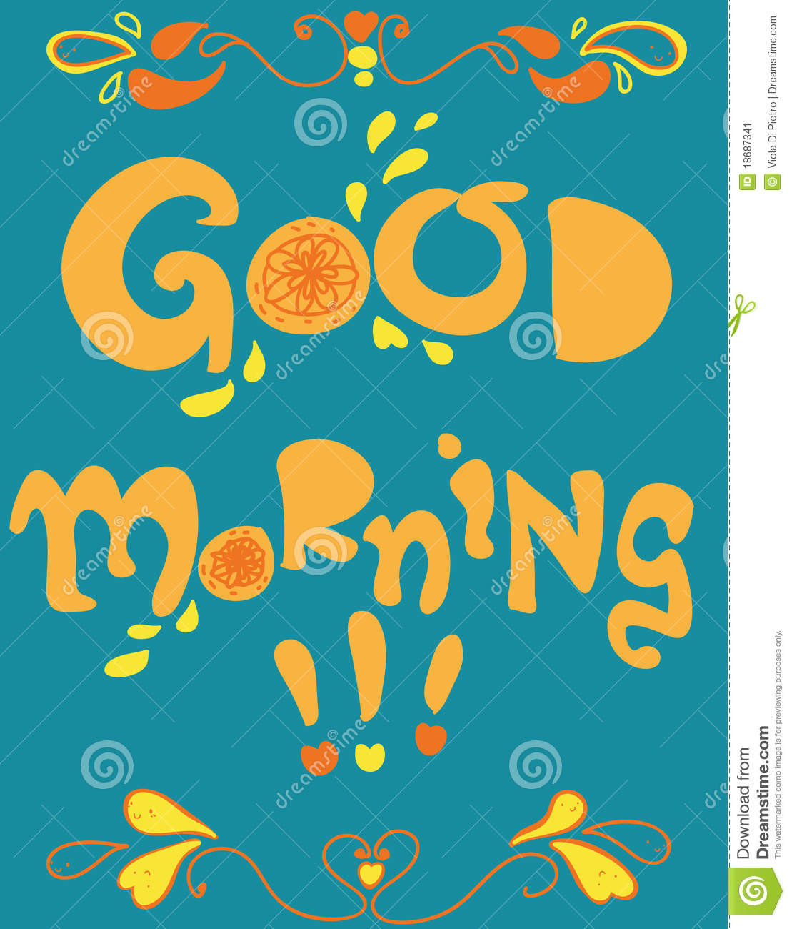 Good Morning Cartoon Card Stock Vector Illustration Of Colorful