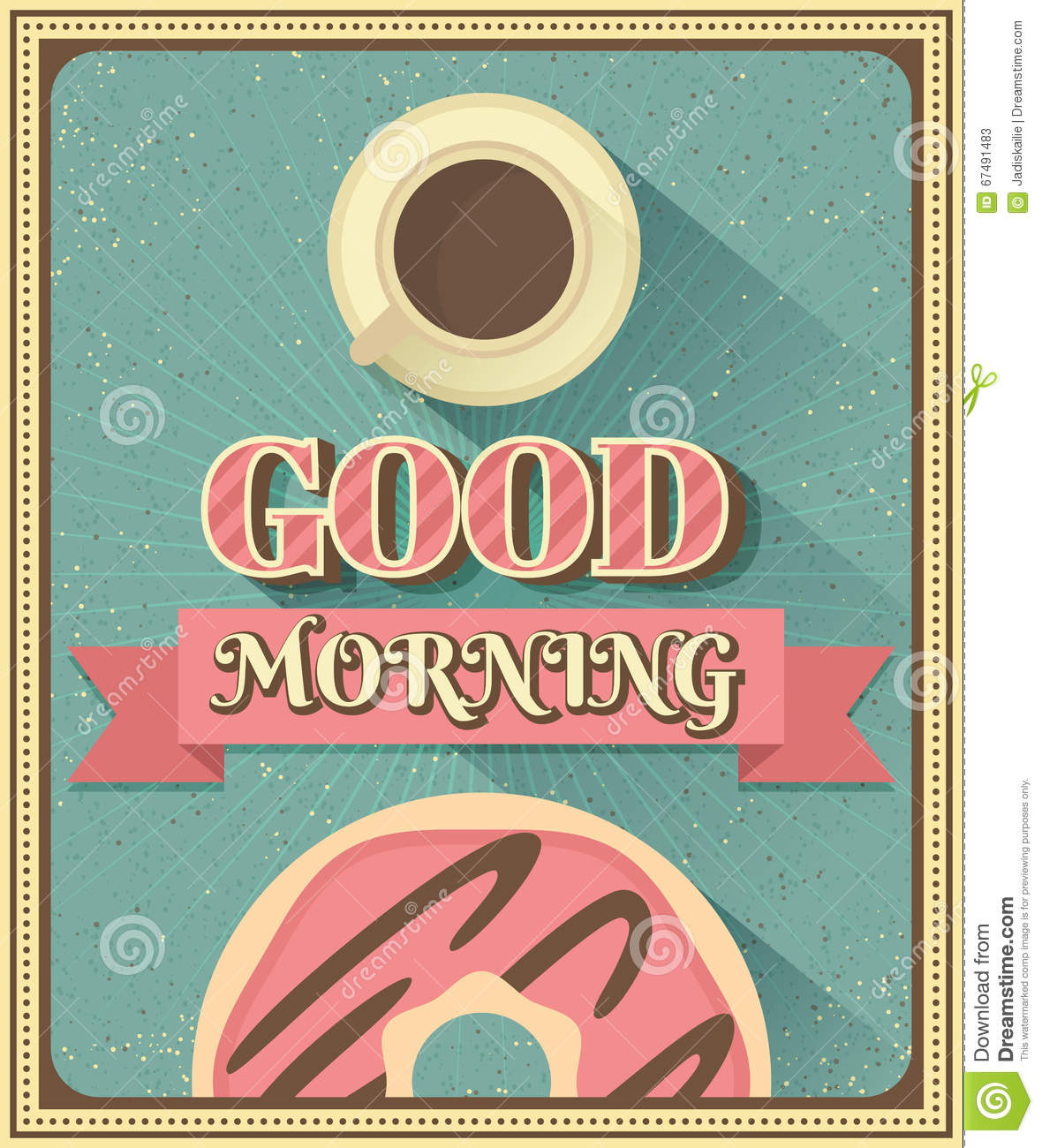 Good Morning Vintage Photos : Good morning with coffee and donut stock vector image