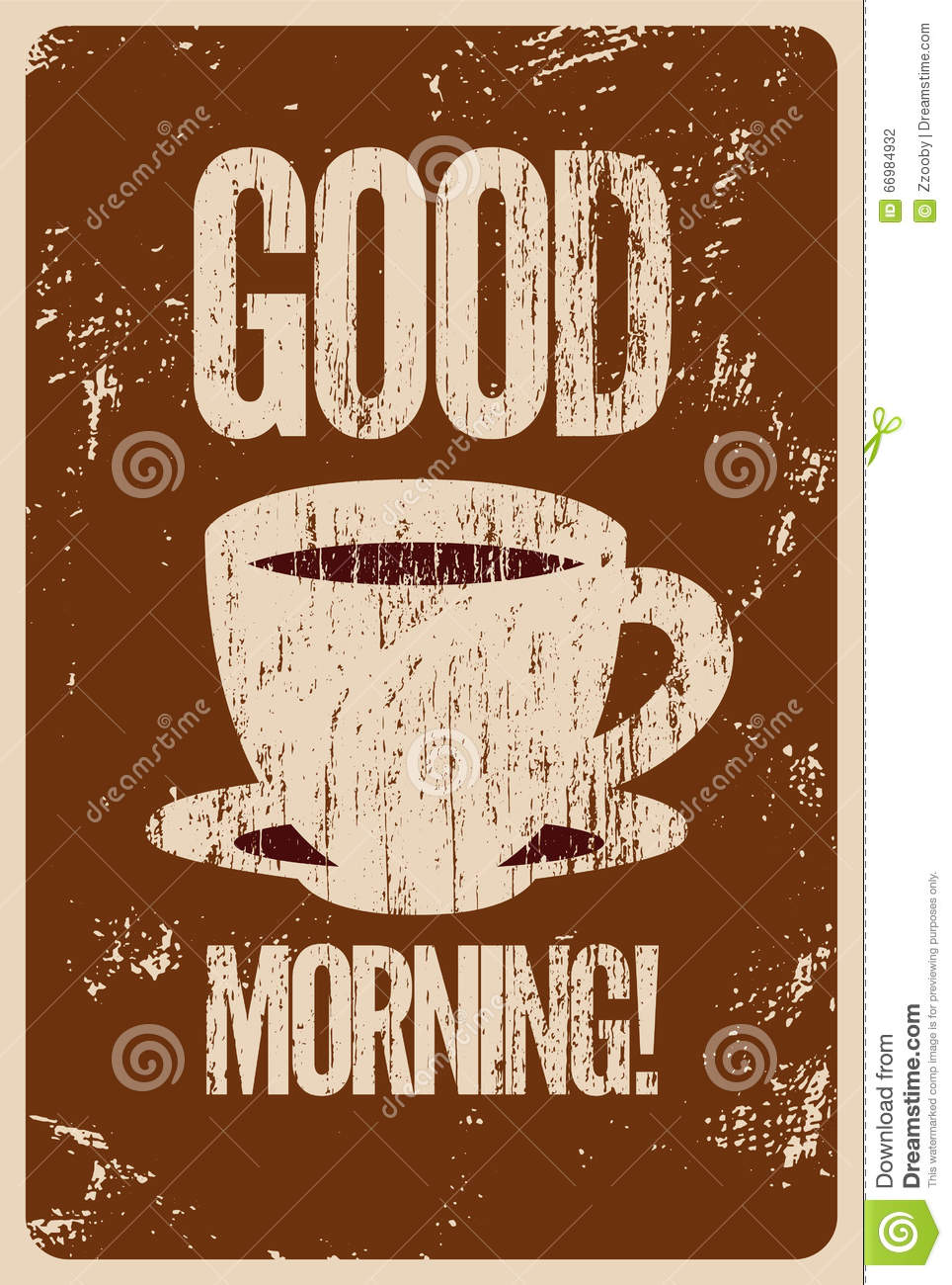 Good Morning Vintage Photos : Good morning coffee or tea typographic vintage style