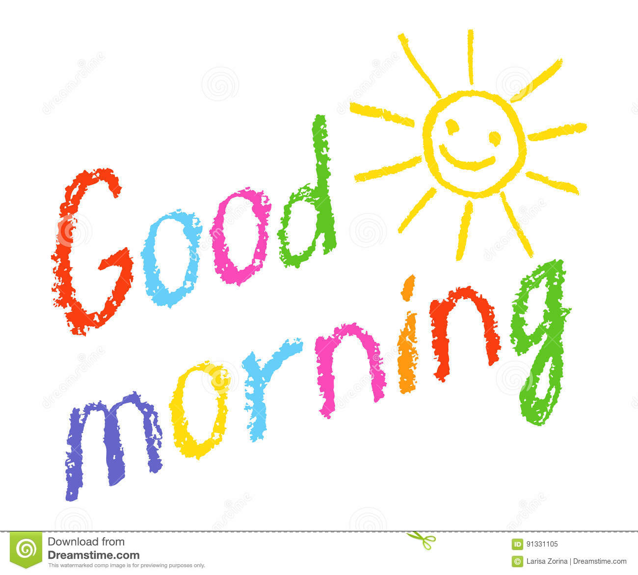 Good Morning Crayon Chalk Hand Lettering Handmade With