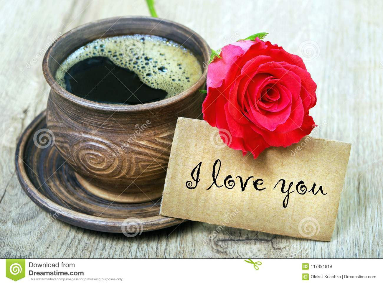 Good Morning A Cup Of Coffee And A Red Rose Stock Image Image Of