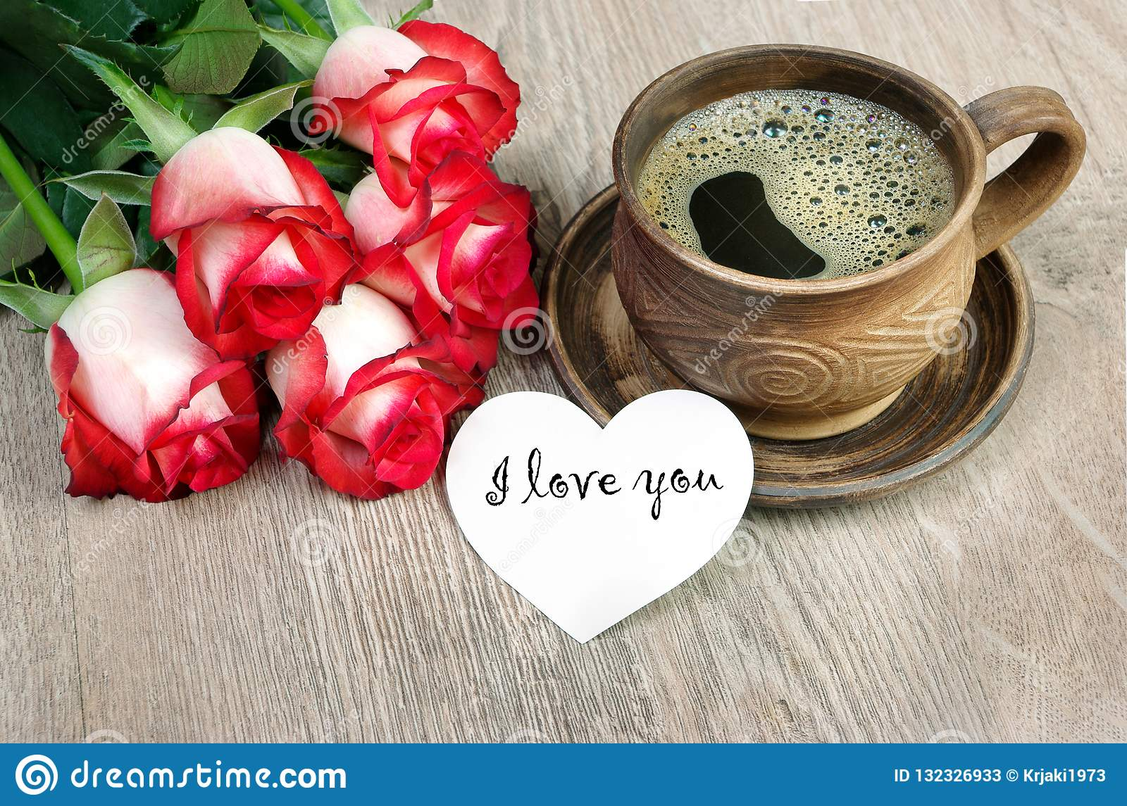 Good Morning A Cup Of Coffee And A Red Roses On A Wooden Table I