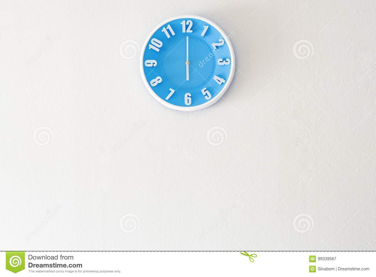 Good morning or evening time with 6:00 clock on white concrete w