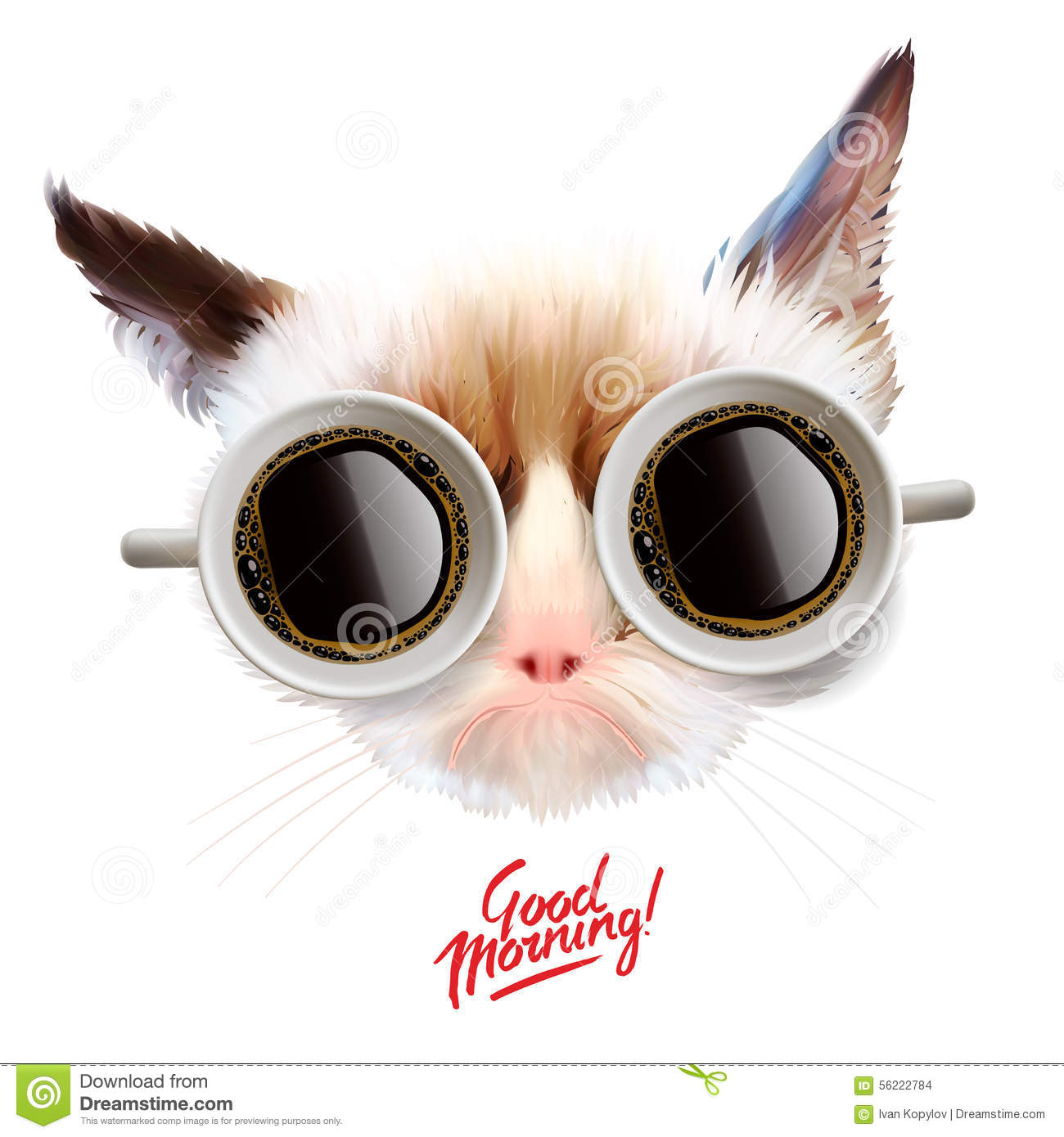 Good Morning Funny Cat With Cups Of Coffee Stock Vector