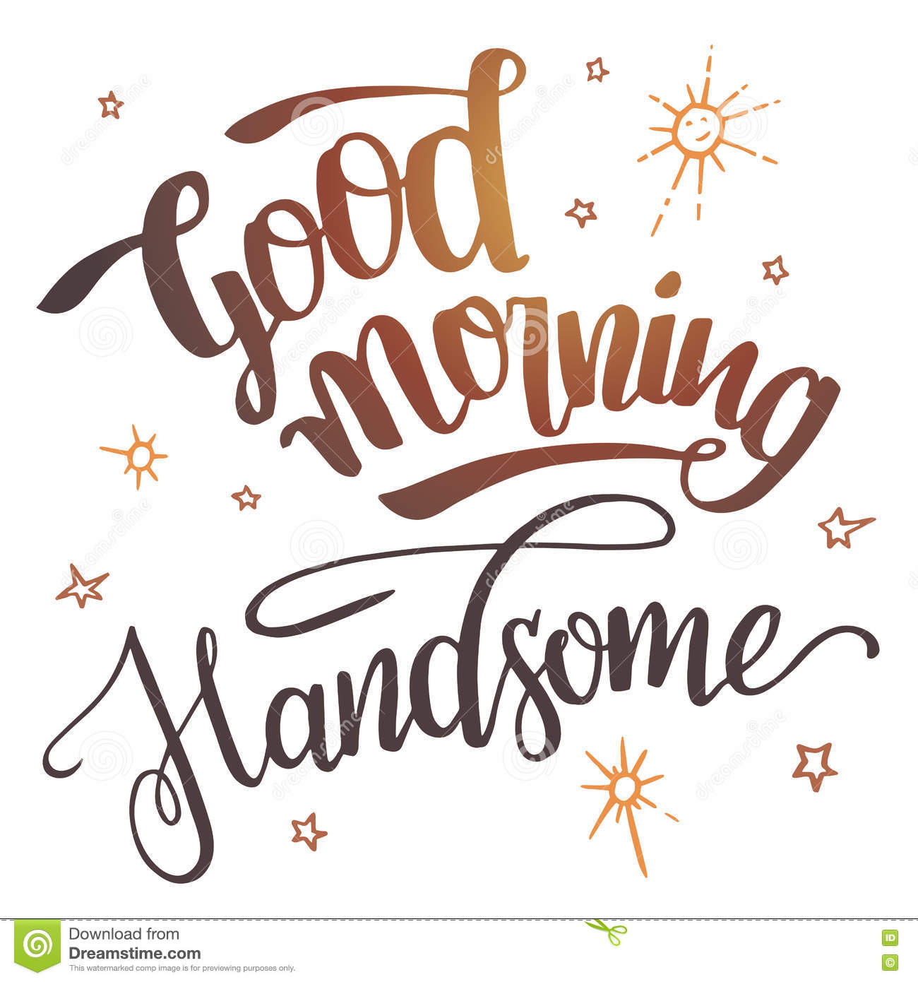 Wedding Good Morning Handsome good morning handsome calligraphy stock vector image 77629491 calligraphy
