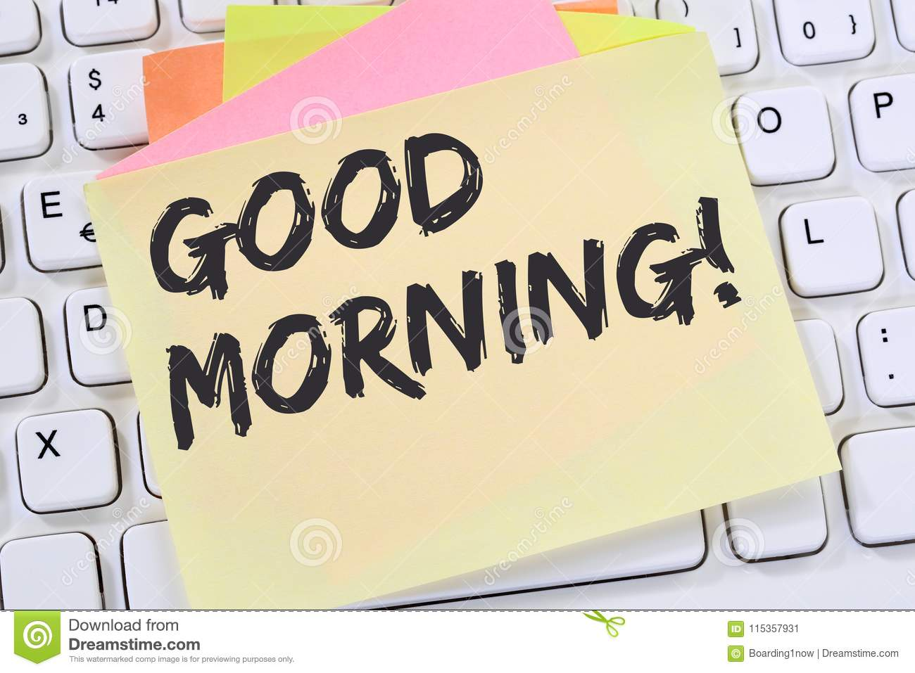 Good Morning Hello Greeting Welcome Message Business Concept Stock