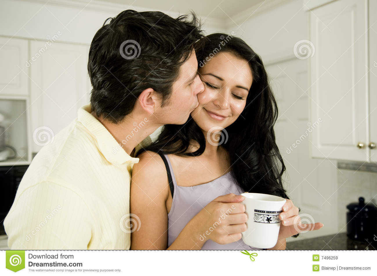 Good Morning And A Kiss Stock Image Image Of Close People 7496259