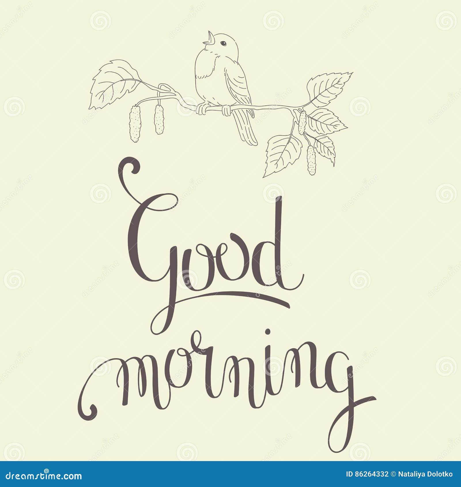 Good Morning Lettering Stock Vector Illustration Of Foliage 86264332