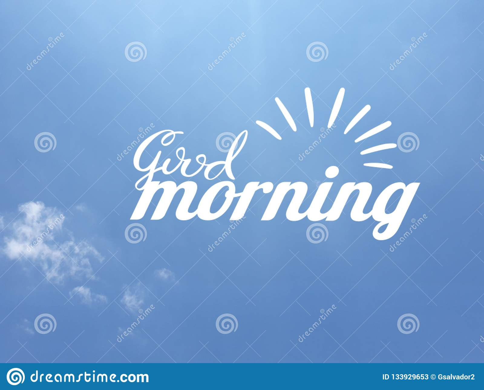 Good Morning Message In White Color On Blue Sky Background Stock