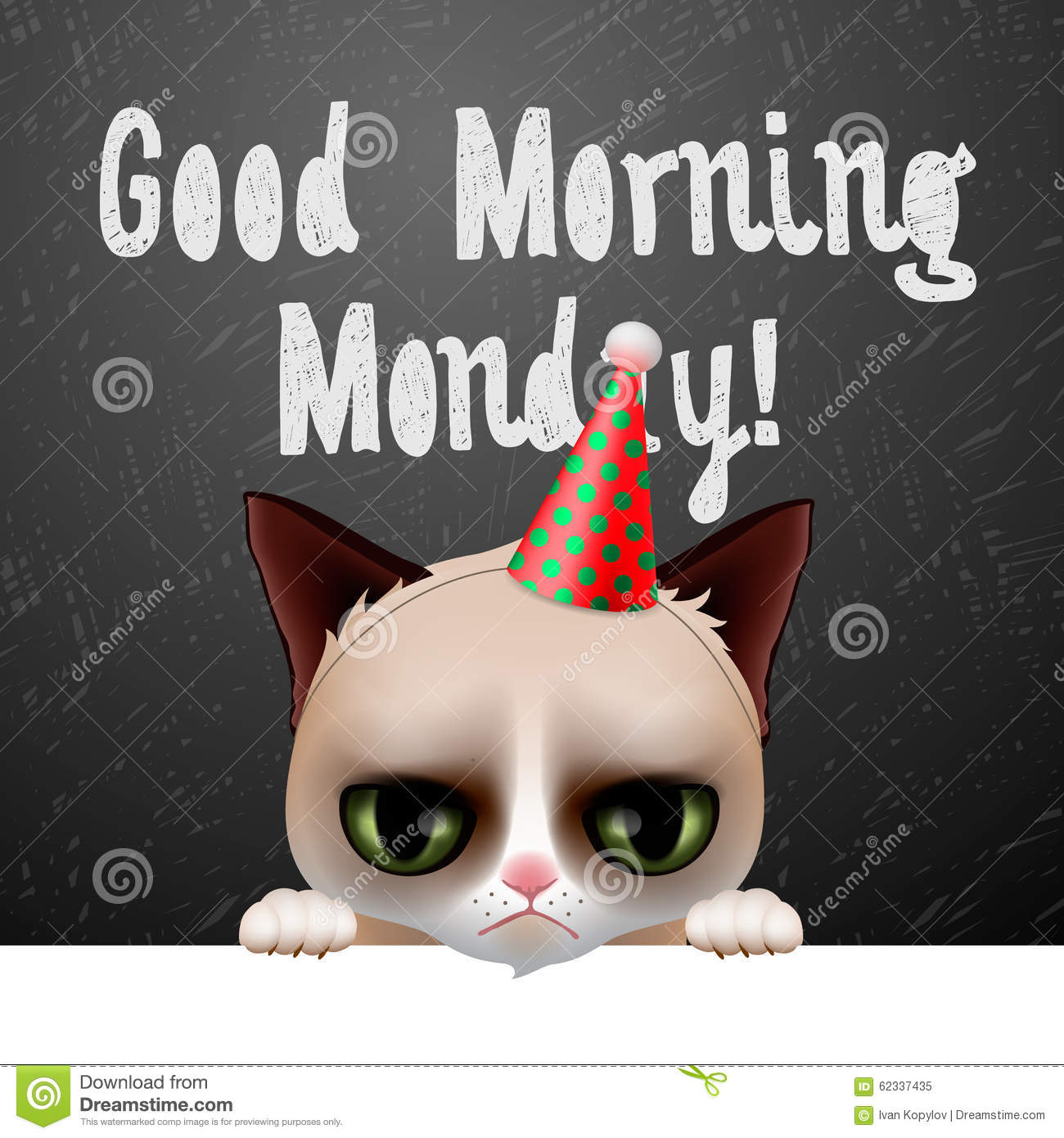 Good Morning Monday With Cute Grumpy Cat Stock Vector