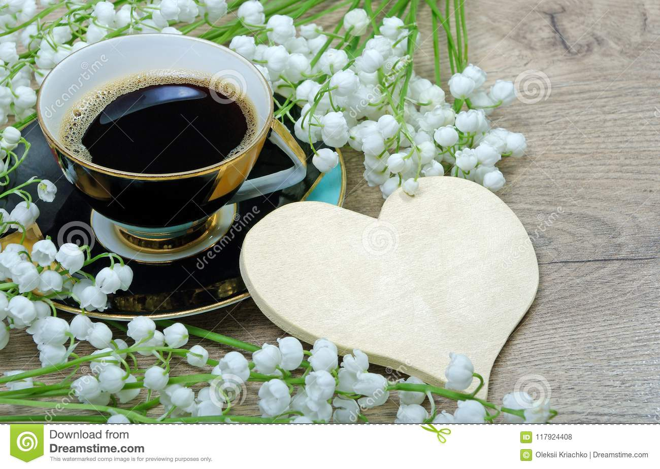 Good Morning Morning Coffee And Lily Of The Valley Flower On A Wooden Table Stock Photo Image Of Background Beauty 117924408