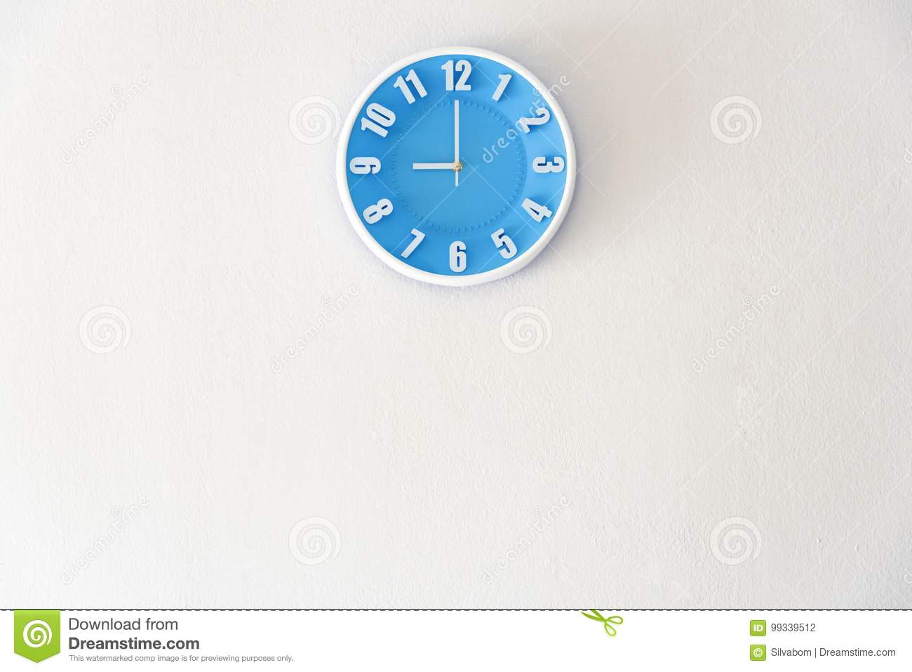 Good morning or night time with 9:00 clock on white concrete wall interior background with copy space, message board concept. Goo