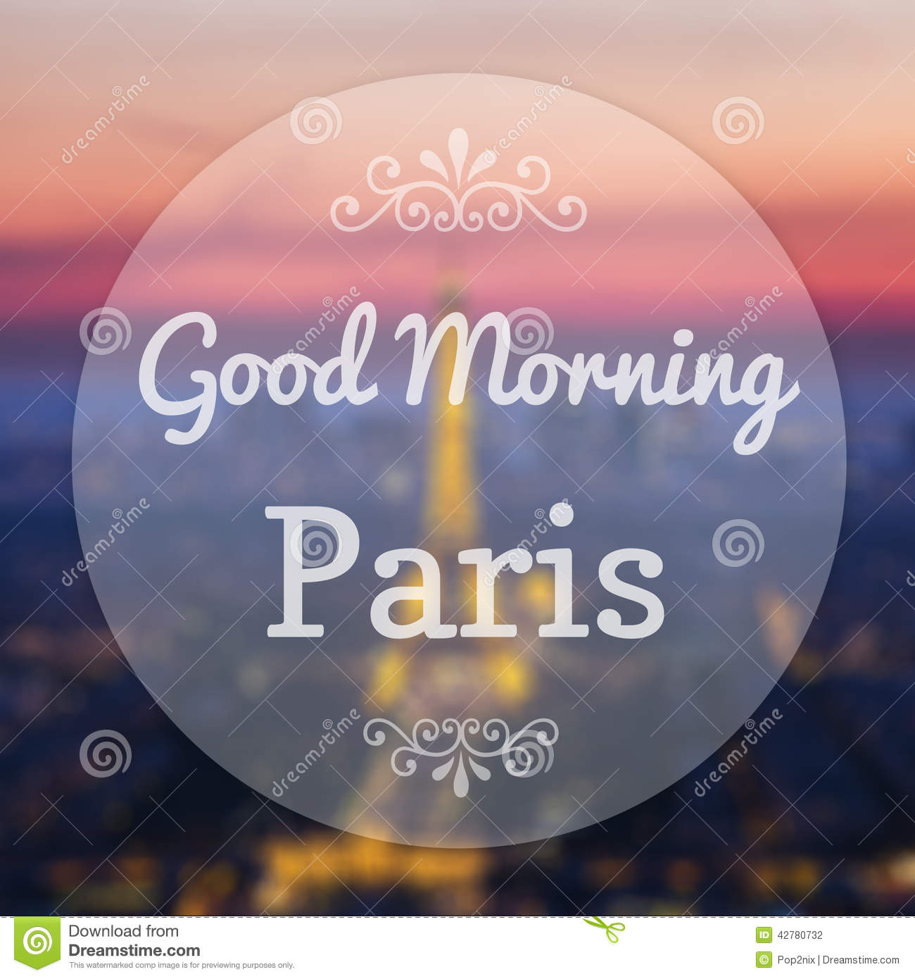 good morning paris france stock illustration image of concept 42780732. Black Bedroom Furniture Sets. Home Design Ideas