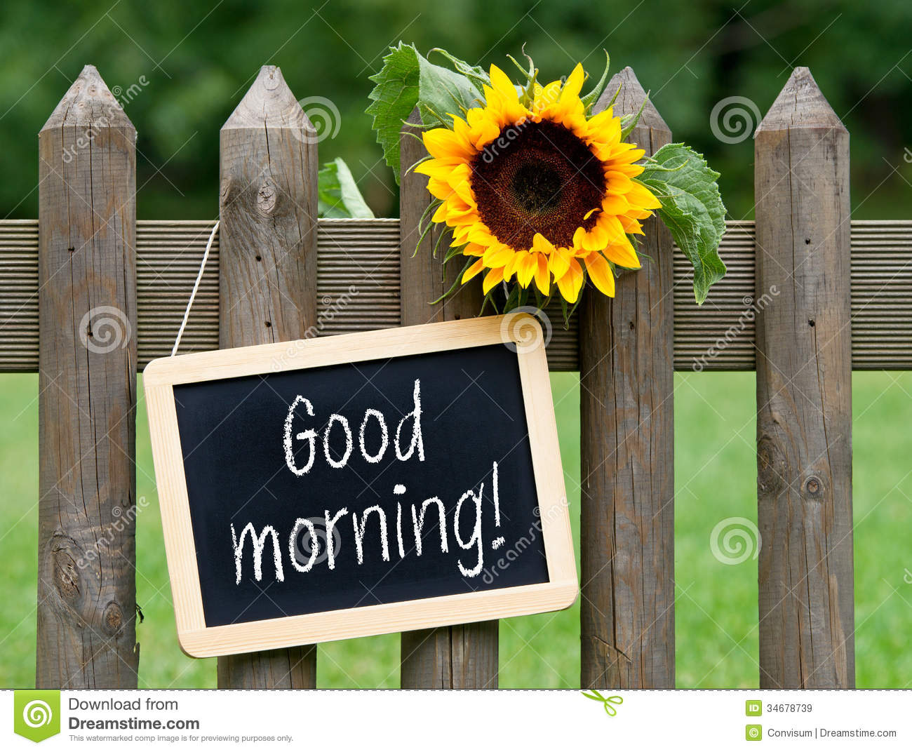 Good Morning Sign On Fence Stock Image Image Of Friendly 34678739