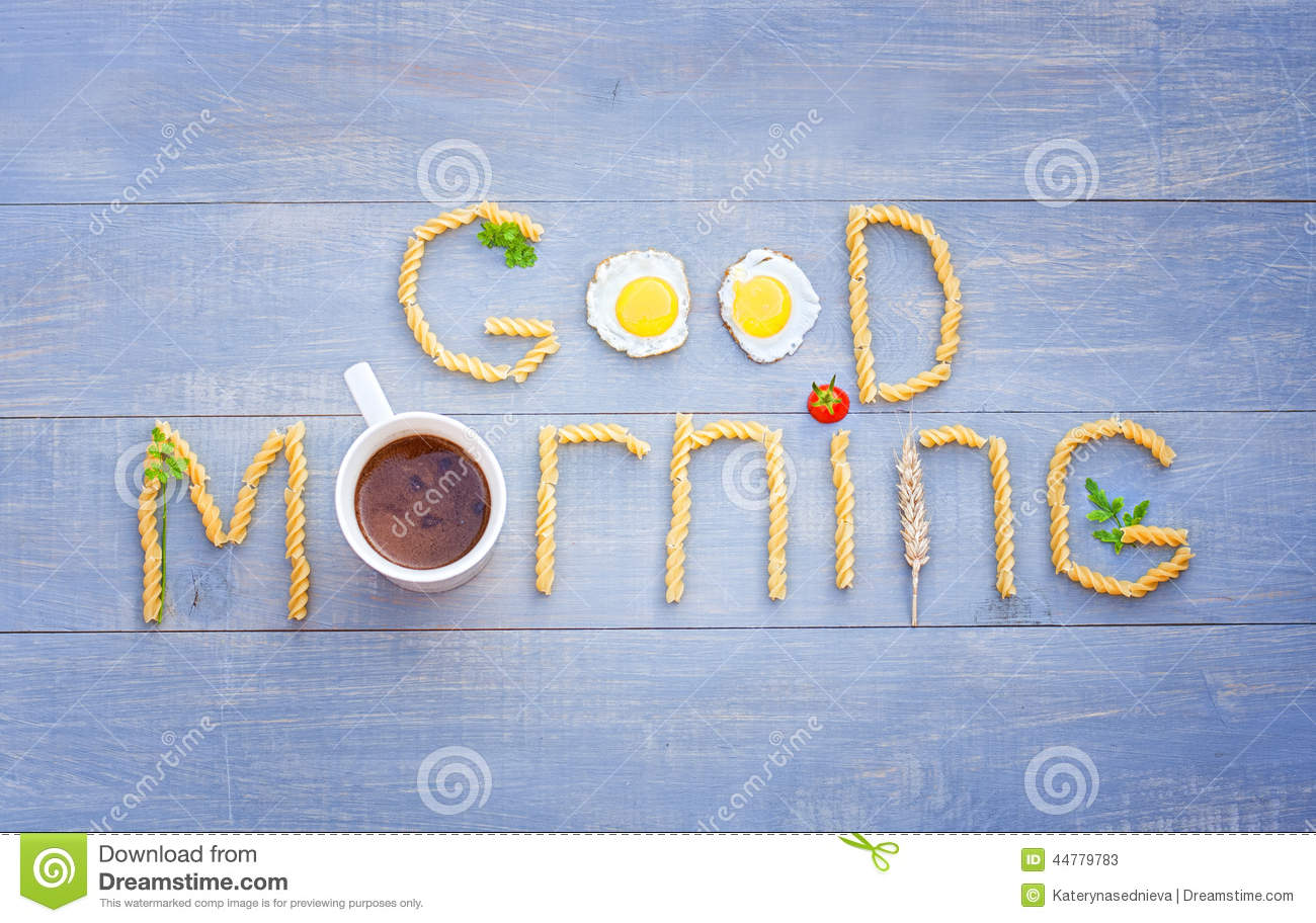 Good morning text by pasta, cup of coffee, eggs and tomato.