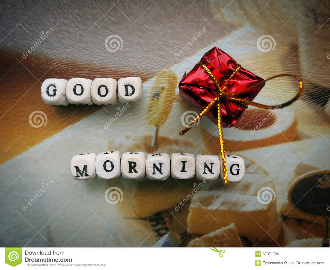 Good morning small wooden cubes and a gift stock photo image of royalty free stock photo negle Choice Image